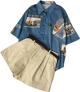[habille]レディース 古着系 メッセージプリント 半袖シャツ フリーサイズ 原宿系 shirt ファッション おまけ付(2カラー)