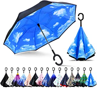 Inverted Umbrella, Double Layer Reverse Umbrella Large Inside Out Umbrella with UV Protection, Windproof Upside Down Umbrellas for Women with C-Shaped Handle