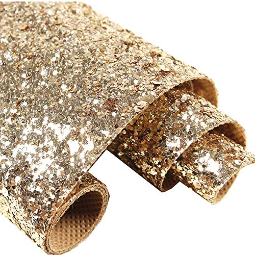 Self Adhesive Champagne Gold Chunky Glitter Wallpaper, Sparkle Glitter Fabric (17.4in x 16.4ft, Champagne Gold)