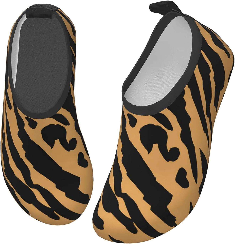 Orange Spots Tiger Pattern Kids Swim Water Shoes, Non-Slip Quick Dry Barefoot Aqua Pool Socks Shoes for Boys & Girls Toddler