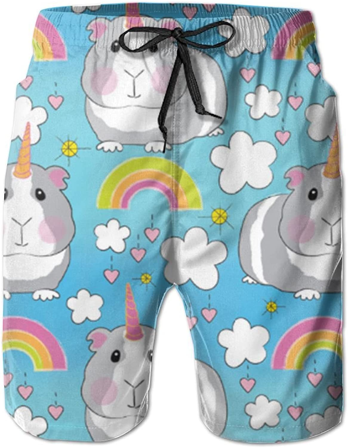 Male Guinea Pig Unicorns-and-Rainbows Tropical Quick Dry Board Shorts Swimming Volley Beach Trunks