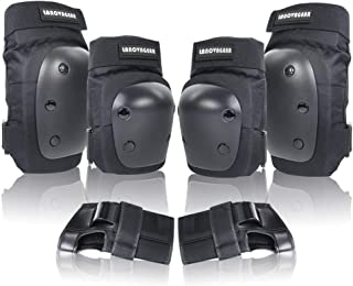 LANOVAGEAR Knee Elbow Pads with Wrist Guard Adjustable Toddler to Adult 6PCS Protective Gear Set for Multi Sports Cycling ...
