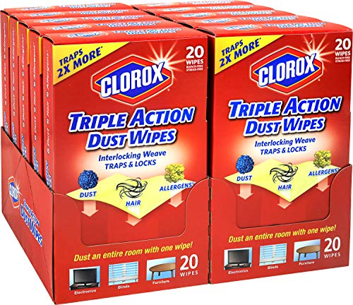 Clorox Triple Action Dust Wipes, Bleach Free Cleaning Wipes 200 Wipes