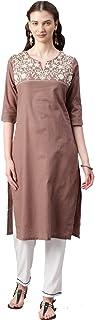 Alena Cotton Women casual wear kurta in Brown Colour Size