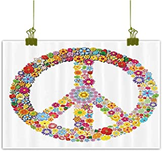 SEMZUXCVO Living Room Decorative Painting Groovy Decorations Floral Peace Sign Summer Spring Blooms Love Happiness Themed Illustration Print Canvas Prints for Home Decorations W24 x L20 Multi