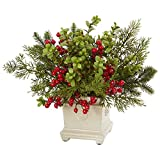 Nearly Natural Holiday Berry and Pine Artificial Arrangement, Green