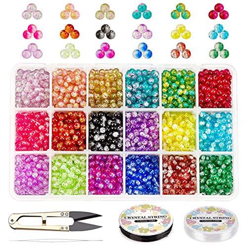 PandaHall Cuentas redondas de cristal redondas de 4 mm de color con tijeras, hilo elástico y agujas de abalorios para abalorios, pulsera de amistad, joyería, adorno del árbol de Navidad