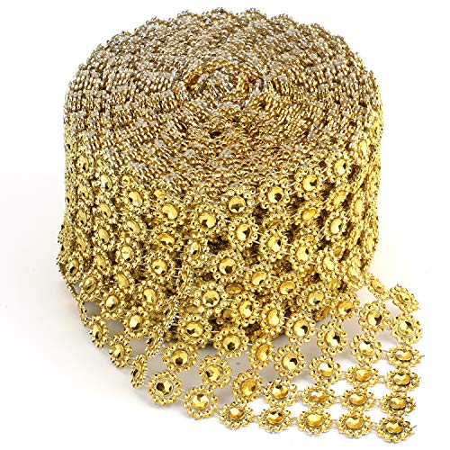 Foraineam 10 Yards / 30 Feet Golden Diamond Ribbon Wrap Faux Rhinestone Crystal Ribbon Flower Shape Mesh Wrap Roll for Event Party Wedding Decoration
