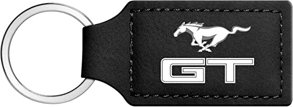 iPick Image - Ford Mustang GT Rectangular Black Leather Key Chain