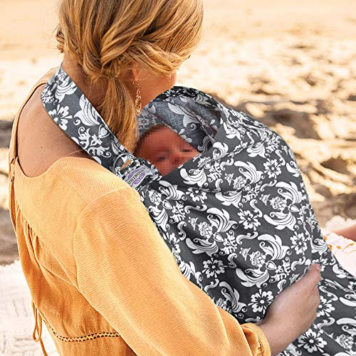 UHINOOS Nursing Cover,Infinity Soft Breastfeeding Cotton for Babies with No See Through Cotton for Mother Nursing Apron for Breastfeeding (Grey)