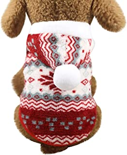 Moonite _pet Christmas Snowflake Clothes,Doggy Puppy Cat Plush Hooded Tank Top,Warm Skin-Friendly Vest T-Shirt Jacket Coat for Autumn Spring Winter