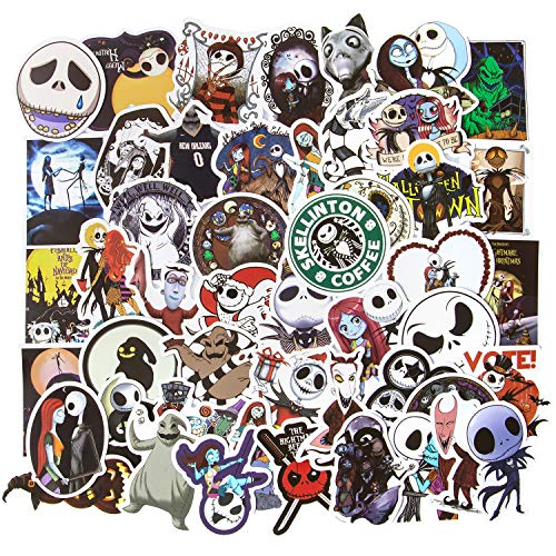 Halloween Stickers, 50pcs The Nightmare Before Christmas Stickers, Laptop Stickers Skateboard Stickers for Teens Vinyl Waterproof Tim Burton Stickers Luggage Bike Computer Stickers Decal