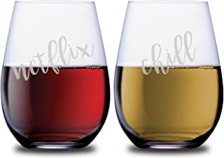 Funny Netflix & Chill Stemless Wine Couples Glasses Set of 2 Dishwasher Safe, 18 oz, by Smoochies   Couples, Anniversary, Home Date Night, Wife and Husband, His and Hers, Movie Streaming Gift Ideas