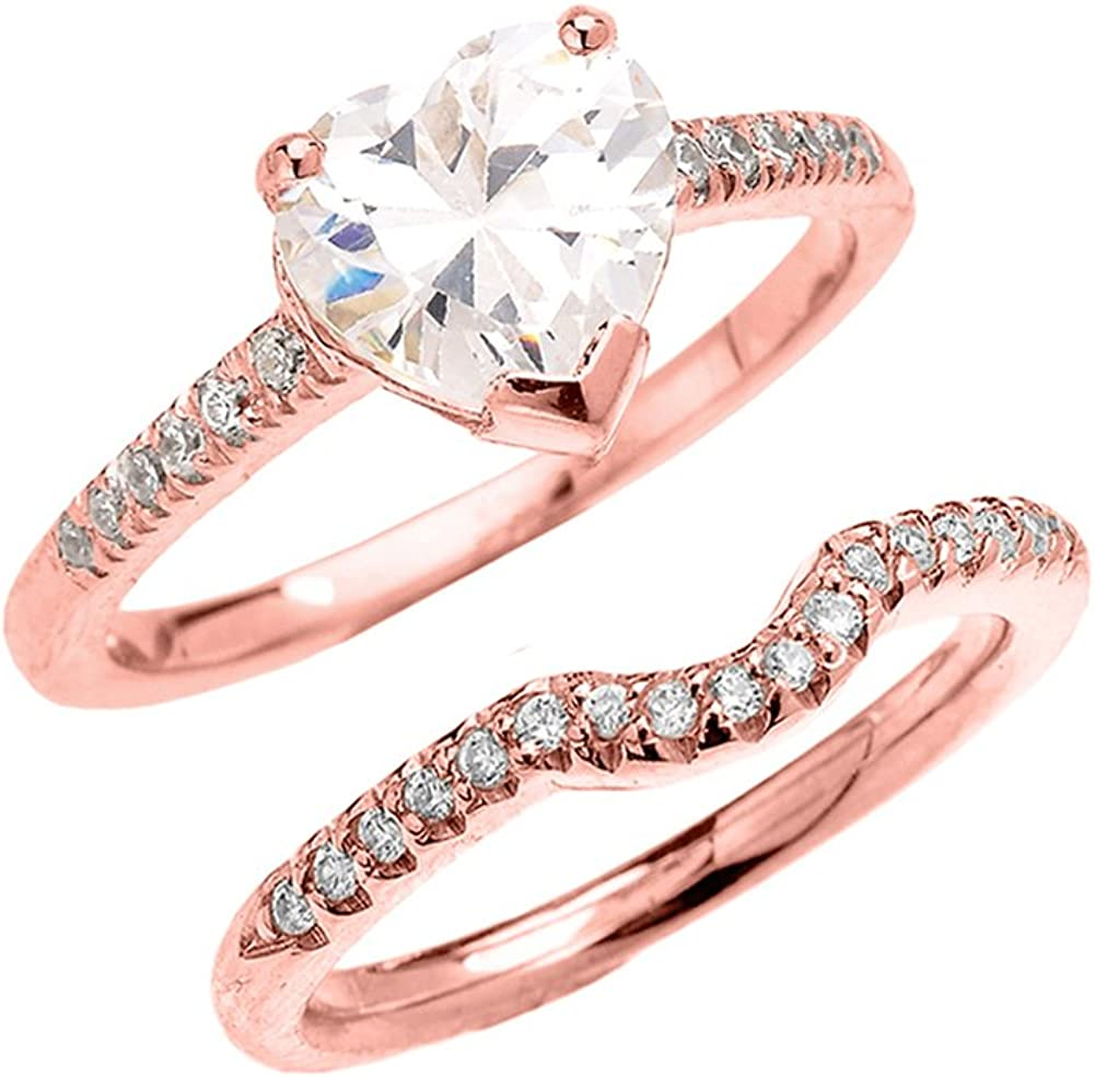 CZ Engagement Rings 10k Rose Gold Dainty Heart Shape Cubic Zirconia Solitaire Wedding Ring Set