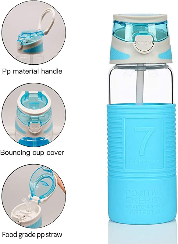 COMI Borosilicate Glass Water Bottle With Straw Silicone Sleeve Bamboo Lid BPA Free For Kid 400ml 14oz