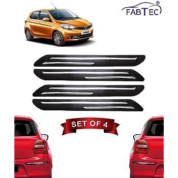 Fabtec Rubber Car Bumper Protector Guard with Double Chrome Strip for Tata Tiago 4Pcs Black