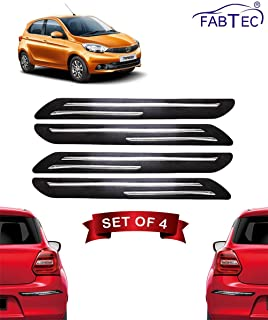 Fabtec Rubber Car Bumper Protector Guard with Double Chrome Strip for Tata Tiago 4Pcs Black