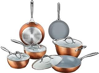 COOKSMARK Diamond Texture Non Stick Induction 10-Piece Cookware Set Ceramic Coating Scratch-Resistant Pots and Pans Set with Lids Dishwasher Safe Oven Safe