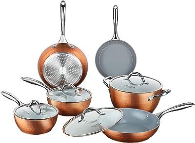 COOKSMARK 10-Piece Diamond Nonstick Ceramic Induction Cookware Set Scratch-Resistant Pots and Pans Set with Lids, Dishwasher Safe Oven Safe, Copper
