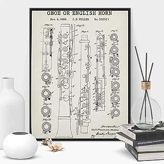 NOBRAND Instrumento de Viento Impresiones de Patentes Oboe English Horn Blueprint Poster Wall Art Canvas Painting Jazz Music Studio Decor Musician Gift-60x80cm Rollo de Lona
