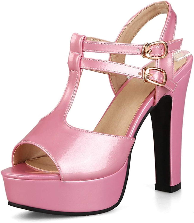 Elsa Wilcox Women Strappy Buckle Ankle Strap Pump Formal Party Platform Chunky Dress Heel Sandals Womens High Heel Open Toe Sandal