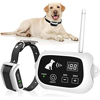 New Wireless Dog Fence, Pet Containment System, Pets Dog Containment System Boundary Container with IP65 Waterproof Dog Training Collar Receiver, Adjustable Range, Harmless for All Dog.White