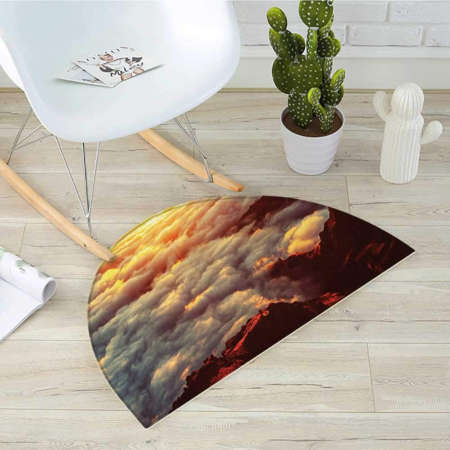 Clouds Half Round Door mats Sunset on The Hill Tops Above The Clouds Unusual Extreme Morning Glory Print Bathroom Mat H 35.4  xD 53.1  orange White Brown
