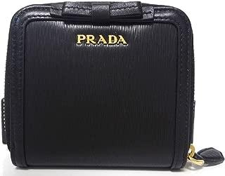 Prada Women's Black Nero Vitello Move Zip Flap Bow Wallet 1ML522