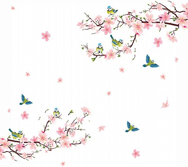 Alicemall Floral Wall Sticker Beautiful Pink Cherry Blossom Peach Flower Wall Sticker Birds And Flowers Pastoral Style Wall Decals For Living Room And Bedroom TV Background Stickers Pink