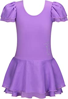 BAOHULU Girls Leotards Ballet DanceTutu Dress Ruffle Short Sleeve Activewear 3-14 Years