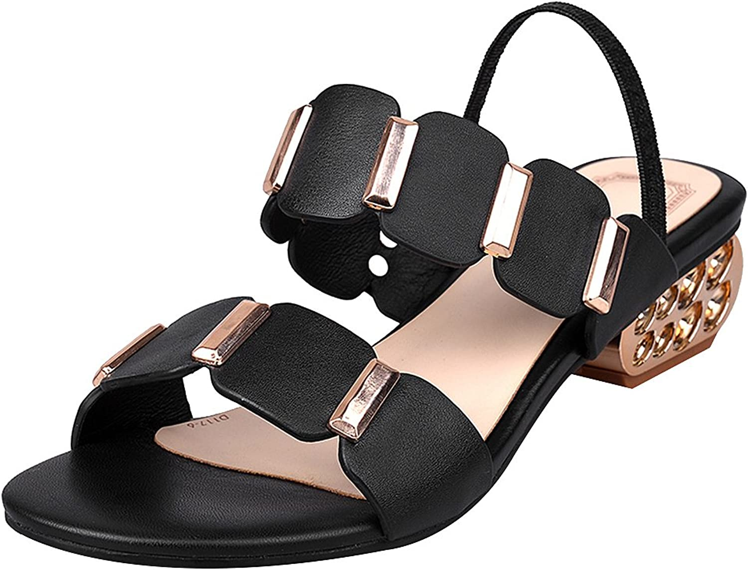 Rismart Women's Ankle Strap Summer Open Toe Leather Stylish Heeled Sandals shoes