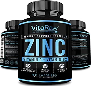 Zinc Supplements 50mg with Vitamin C for Immune Support | Zinc 50mg Immune Booster Formula | Zinc Vitamins for Adults | Th...