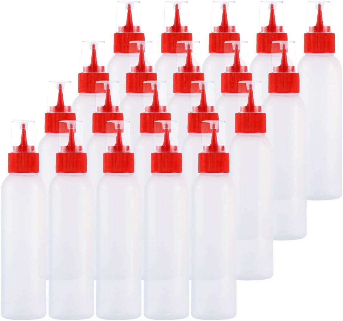 Kingrol 30-Pack Easy Squeeze Writer Bottles, 4 Ounces Soft Applicator Bottle for Paint, Glue, Glaze, DIY Craft, Art - Red