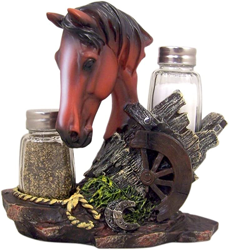 Rustic Western Horse Statue Figurine With Glass Salt And Pepper Shaker Set 6 1 2 Inch
