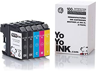 YoYoInk Compatible Printer Ink Cartridge Replacement for Brother LC-203 LC203 XL 203XL High Yield (2 Black, 1 Cyan, 1 Magenta, 1 Yellow; 5 Pack)