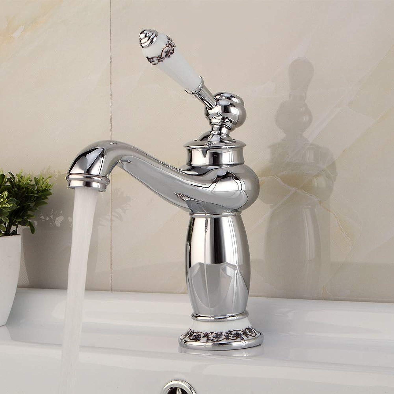 Ddl Faucet, European Copper Antique Faucet Basin Hot and Cold Faucet Single Wash Basin Retro Faucet,Gold