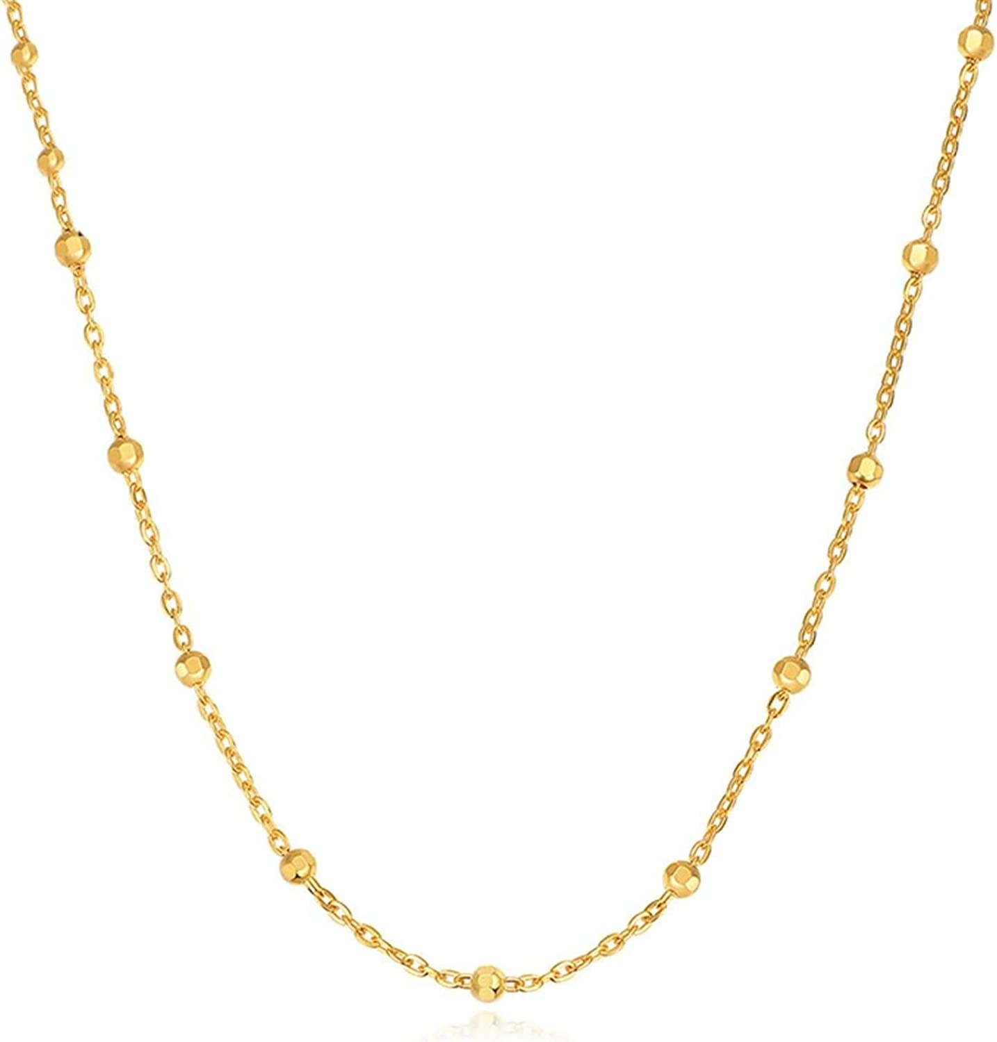 Epinki 18K Yellow Gold Women We Chain for Excellent Max 87% OFF Ball Necklace