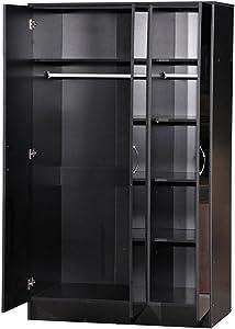 Armario con espejo de 3 puertas para dormitorio con alto brillo, madera, negro, 180.50x110x51.5 cm