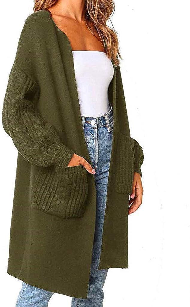 Hemlock Women Solid Color Cardigan Sweaters Lantern Sleeve Sweater Tops Warm Knitted Long Sweater Coats Open Cardigan Tops