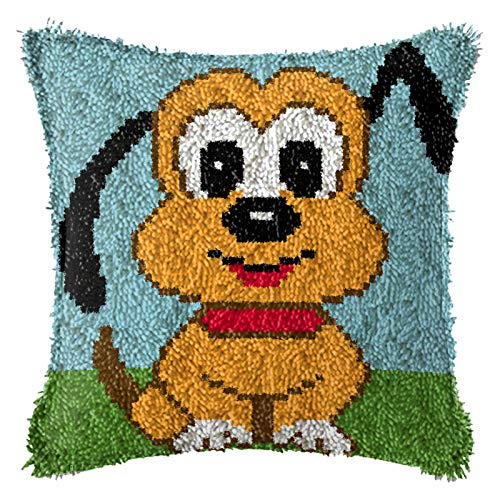 Latch Hook Kits, DIY Animal Theme Carpet Cushion Crocheting Pillowcase Rug Sewing Craft Kit for Adults and Beginners, Pup, 17'' X 17'',D