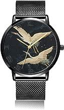 Whiterbunny Customized Crane Wrist Watch Unisex Analog Quartz Fashion Black Steel Bracelet Wristwatch for Women and Men