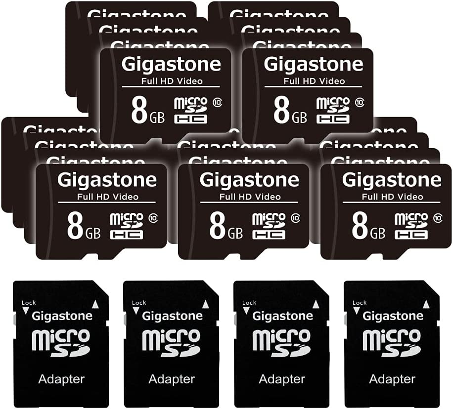 Gigastone 8GB 20-Pack Micro SD Card, Full HD Video, Surveillance Security Cam Action Camera Drone, 80MB/s Micro SDHC Class 10