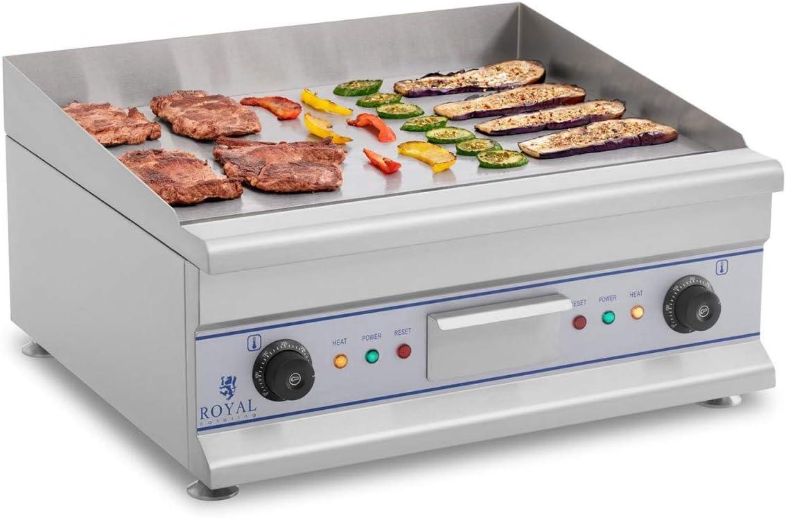 Royal Catering Fry Top Eléctrico Doble W RCG 60 (60 cm, Liso, 2 x 3.200 Watt, Protección Contra Salpicaduras, Sistema Recoge Grasas)