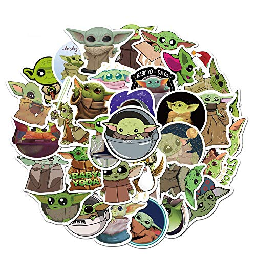 Baby Yoda Merchandise Stickers,50 PCS The Mandalorian Star Wars Waterproof Vinyl Decal Sticker for Water Bottle Hydro Flask Laptop Phone Car Cup Computer Bicycles Mac Book