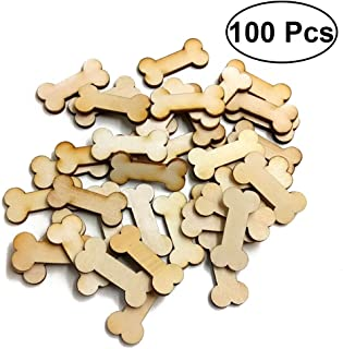 ULTNICE 100pcs Dog Bone Wood Slices Wedding Christmas Ornaments for Wood Craft and DIY