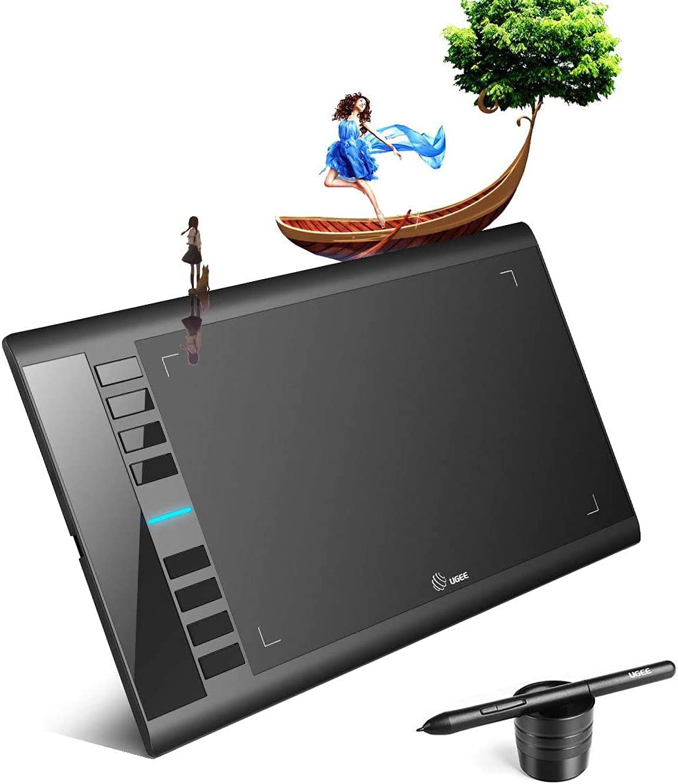 Drawing Tablet, UGEE M708 V2 10 x 6 inch Graphics Tablet with 8 Hot Keys, 00Battery-Free Passive Stylus of 8192 Levels Pressure, for Art Creation Sketch, Online Education