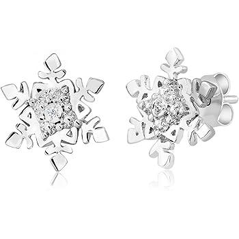 Gem Stone King Gorgeous Diamond Accent Snowflake Stud Earrings For Women