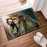 SHUHUI Alfombrillas de Ducha de Animales Salvajes para baño,un depredador de Boca Abierta de león con Fondo de Color,Franela Durable para baño