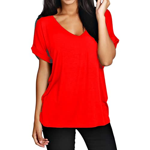 7d469b504e5f ZEE FASHION Womens Oversize Fit V Neck Top Ladies Baggy Plus Size Batwing  Casual T Shirt