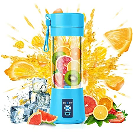 FEWZY Portable Juicer Blender, Household Fruit Mixer - Four Blades in 3D, 380ml Fruit Mixing Machine with USB Charger Cable for Superb Mixing, USB Juicer Cup(MULTI)